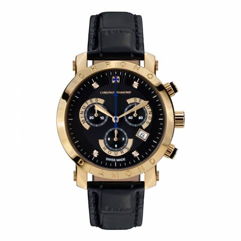 Chrono Diamond Men's Black/Gold Stainless Steel Nestor Watch
