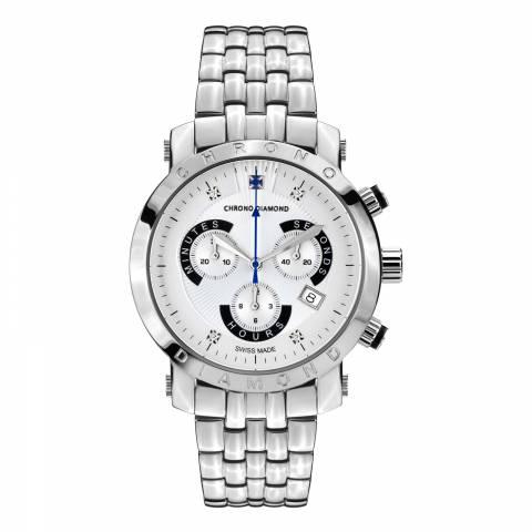 Chrono Diamond Men's Silver Stainless Steel Nestor Watch