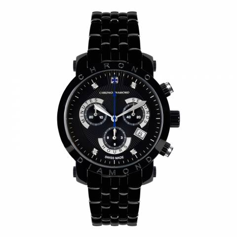Chrono Diamond Men's Black Stainless Steel Nestor Watch