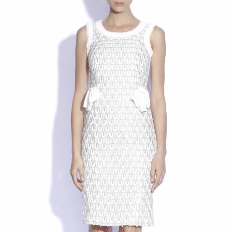 Nissa White/Silver Peplum Dress