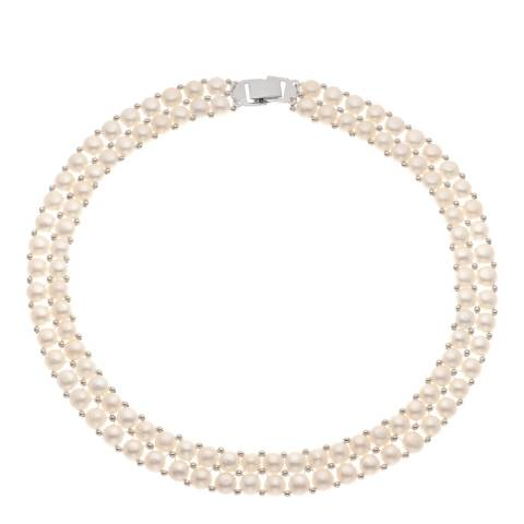 Just Pearl White Double Layer Freshwater Pearl Necklace