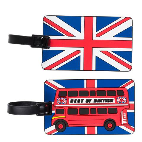 Travel One Set of Two Blue/Red/White Luggage Tags