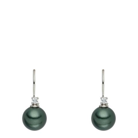 Nova Pearls Copenhagen Dark Green Pearl/Crystal Drop Earrings 10mm