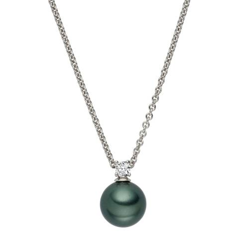 Nova Pearls Copenhagen Dark Green Pearl/Crystal Pendant 10mm