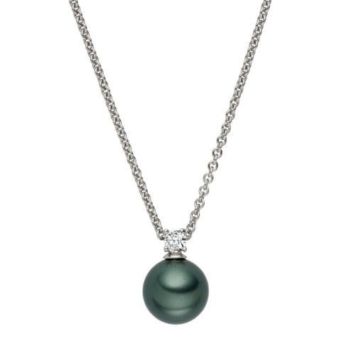 Nova Pearls Copenhagen Dark Green Pearl/Crystal Pendant 10mm