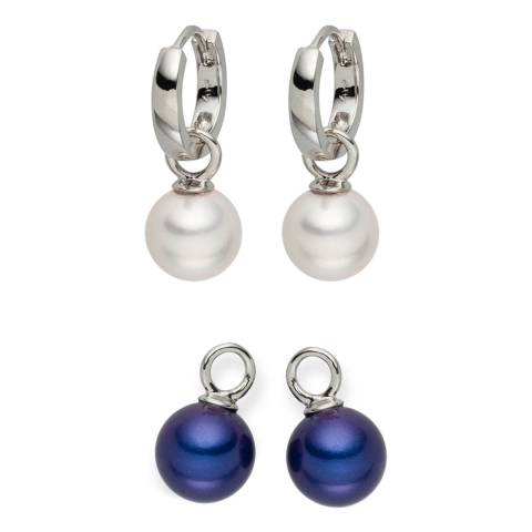 Nova Pearls Copenhagen White/Dark Blue Pearl Interchangeable Hoop Earrings