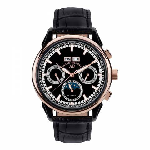 Andre Belfort Men's Rose Gold/Black Ambassadeur Schwarz Leather Watch