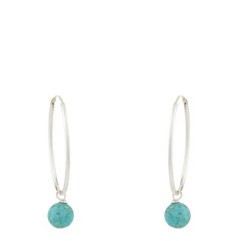 Alexa by Liv Oliver Silver and Turquoise Drop Hoop Earrings