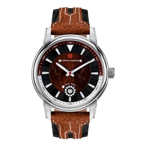 Chrono Diamond Men's Brown/Black Leather Nereus Watch