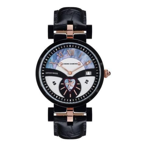 Chrono Diamond Women's Black/Silver/White Stainless Steel Watch