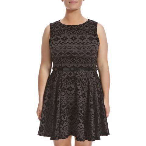 Ruby's Closet Black/Grey Printed Skater Dress