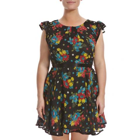 Ruby's Closet Black/Multi Floral Print Dress