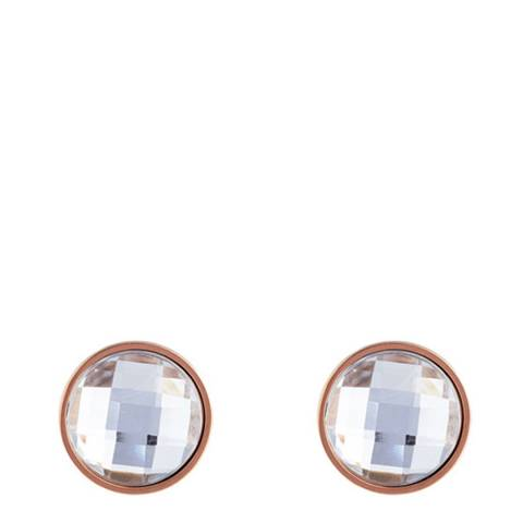Black Label by Liv Oliver Rose Gold Crystal Disc Earrings