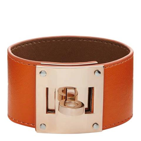 Chloe Collection by Liv Oliver Orange/Rose Gold Leather Bracelet