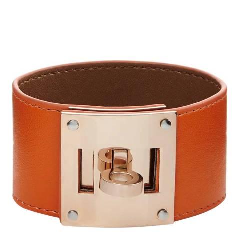 Chloe Collection by Liv Oliver Orange/Rose Gold Leather Bracelet