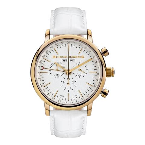 Chrono Diamond Men's White/Gold Leather Chronograph Argos Watch