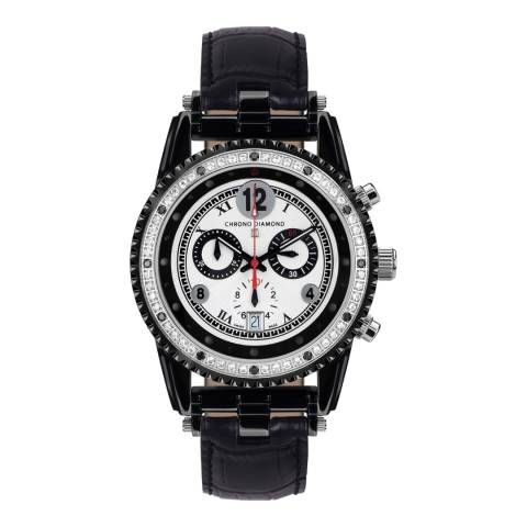 Chrono Diamond Men's Black/Silver Leather Chronograph Adone Watch