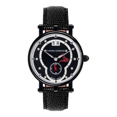 Chrono Diamond Women's Black Leather Damenuhr Ariadne Watch