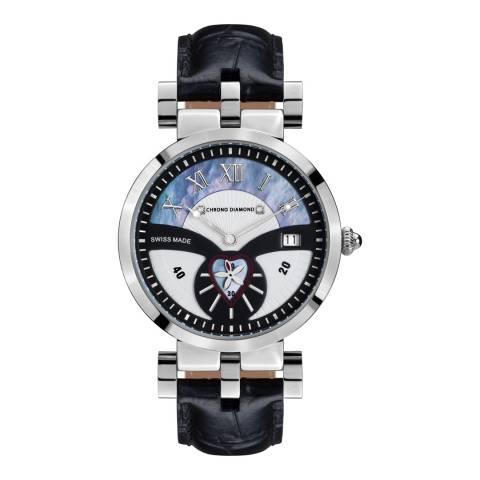 Chrono Diamond Women's Black/Silver Leather Feronia Watch