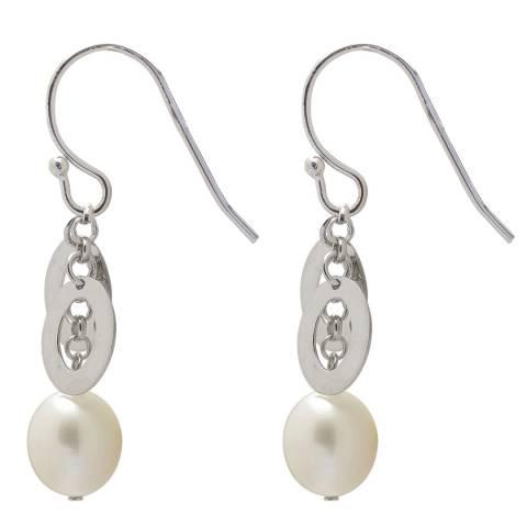 Clara Copenhagen White/Silver Drop Pearl Earrings 8mm