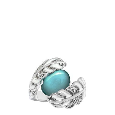 Saint Francis Crystals Silver/Green Swarovski Elements Crystal Leaf Ring