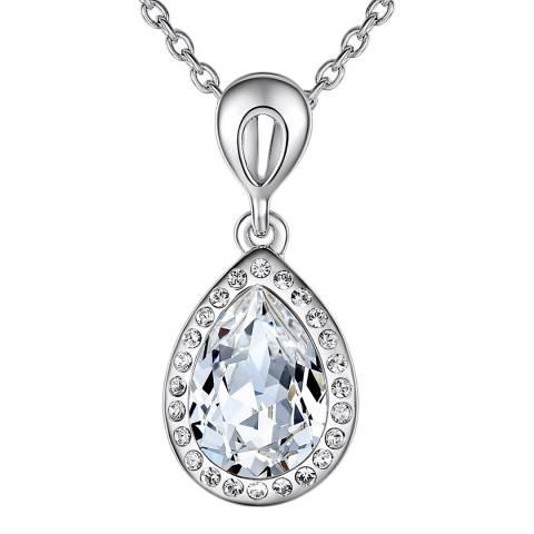 Lilly & Chloe Silver Swarovski Crystal Elements Drop Necklace