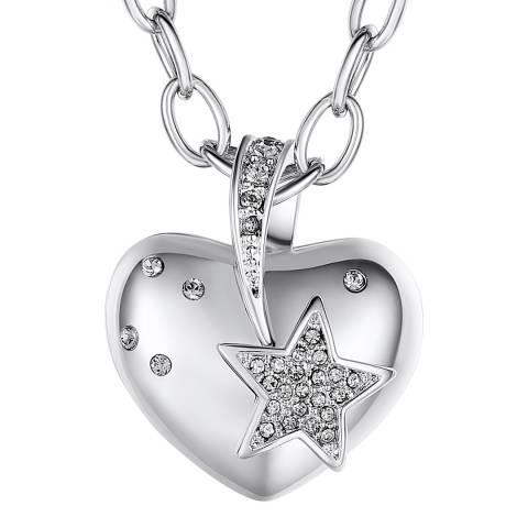 Lilly & Chloe Silver Swarovski Crystal Elements Heart/Star Necklace