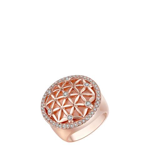 Lilly & Chloe Rose Gold Swarovski Crystal Elements Open Floral Ring