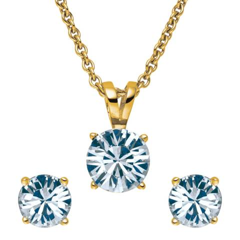 Lilly & Chloe Gold Swarovski Elements Crystal Necklace/Earrings Set