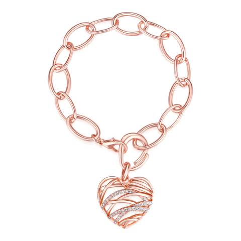 Lilly & Chloe Rose Gold Swarovski Crystal Elements Heart Pendant Bracelet