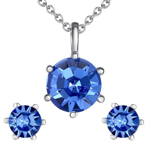 Lilly & Chloe Silver/Blue Swarovski Crystal Elements Sphere Necklace/Earrings Set