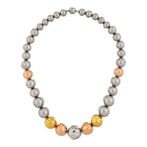 Chloe Collection by Liv Oliver Rose Gold/Gold/Silver Hammered Necklace