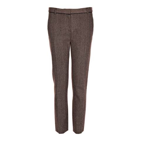 Nicole Farhi Brown Wool Blend Rustic Trousers