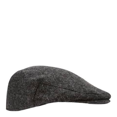 Grey Herringbone Wool Blend Flat Cap Brandalley