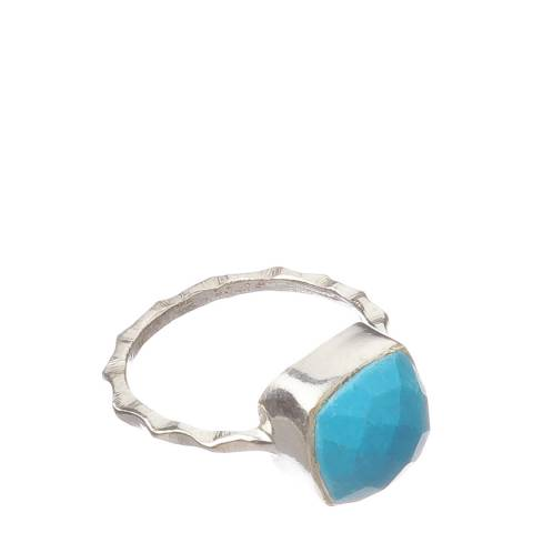 Alexa by Liv Oliver Silver/Turquoise Stone Ring