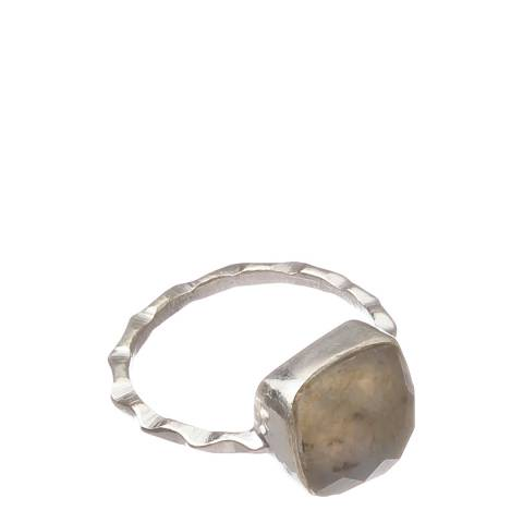 Alexa by Liv Oliver Silver/Grey Labradorite Ring