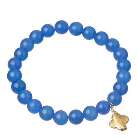 Liv Oliver Blue Agate/Gold Clover Charm Bracelet