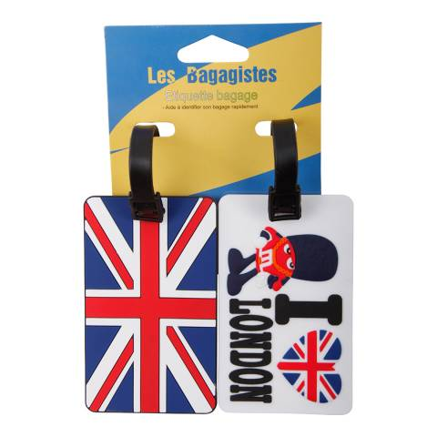 Travel One Set of Two Blue/White/Red London Luggage Tags