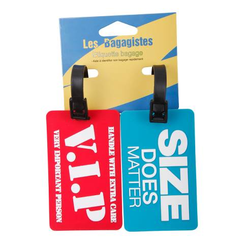 Les Bagagistes Set Of Two Red/Blue 'Vip' Luggage Tags