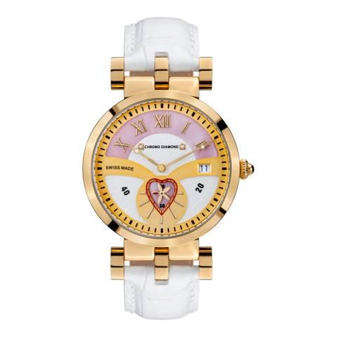 Chrono Diamond Women's White/Rose Gold Leather Diamond Watch