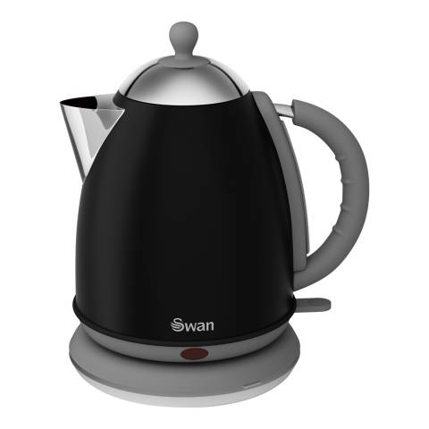 Swan Black Retro Jug Kettle, 1.7L