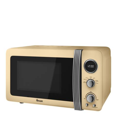 Swan Cream Retro Digital Microwave, 800W