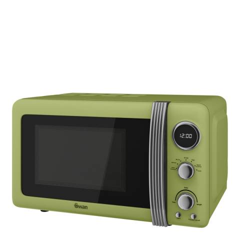 Swan Green Retro Digital Microwave, 800W