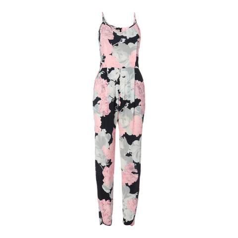 WHISTLES Black/Pink Gracie Floral Print Jumpsuit