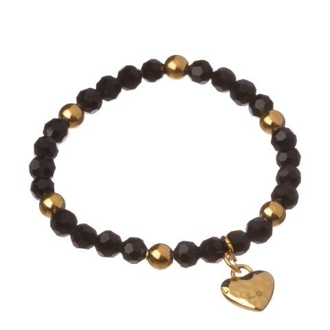 Chloe Collection by Liv Oliver Black/Gold Heart Pendant Bracelet