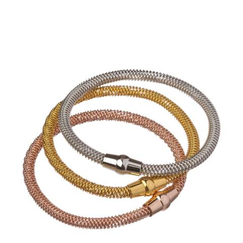 Chloe Collection by Liv Oliver Set of Three Multicolour Stackable Bracelets