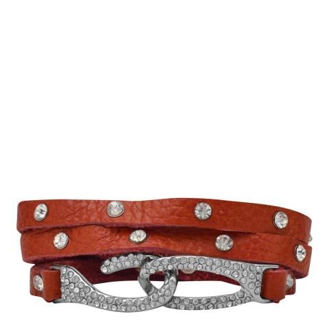 Black Label by Liv Oliver Red/Silver Leather Crystal Hook Bracelet