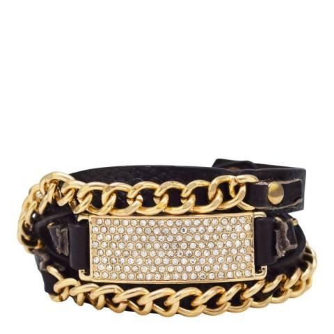 Black Label by Liv Oliver Dark Brown/Gold  Leather Multi Strap Bracelet