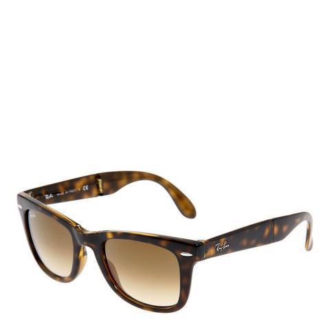 Ray-Ban Unisex Light Brown Tortoiseshell Folding Wayfarer Sunglasses
