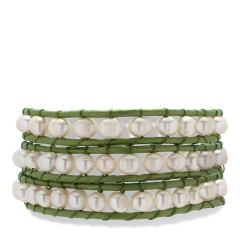 Nova Pearls Copenhagen Off White/Olive Green Freshwater Pearl/Leather Bracelet 5.5/6mm